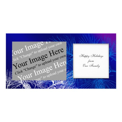 Custom Holiday Blue and White Winter Pine Photo Card