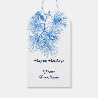 Custom Holiday Blue White Pine Pattern Gift Tag Pack Of Gift Tags