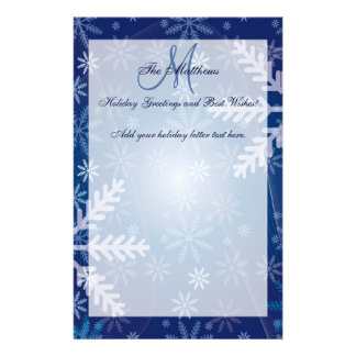 Custom Holiday Greetings Family Letter Snowflakes Stationery