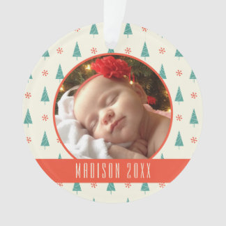 Custom Holiday Photo | Christmas Tree & Snowflakes Ornament