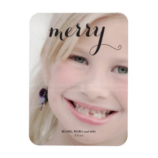 Custom Holiday Photo Magnets Text Personalized