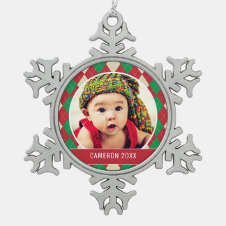 Custom Holiday Photo | Red & Green Argyle Pattern Snowflake Pewter Christmas Ornament