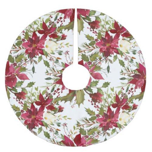 Custom Holiday Poinsettia Christmas Tree Skirt