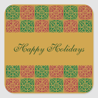 Custom Holiday Red and Green Pattern Square Sticker
