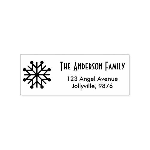 Custom Holiday Snowflake Return Address Rubber Stamp
