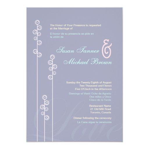 ::custom:Hollyhock & Ampersand Bilingual Wedding 5x7 Paper Invitation Card