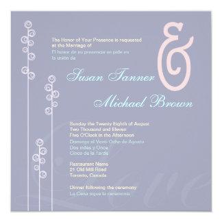 ::custom: Hollyhock & Ampersand Bilingual Wedding Card