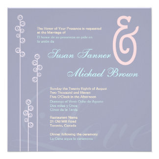 custom Hollyhock Ampersand Bilingual Wedding Invite