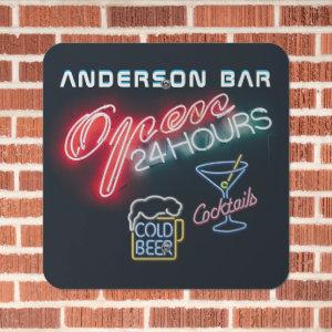 Custom HOME BAR Cocktails Beer Mancave Open 24hrs Metal Sign