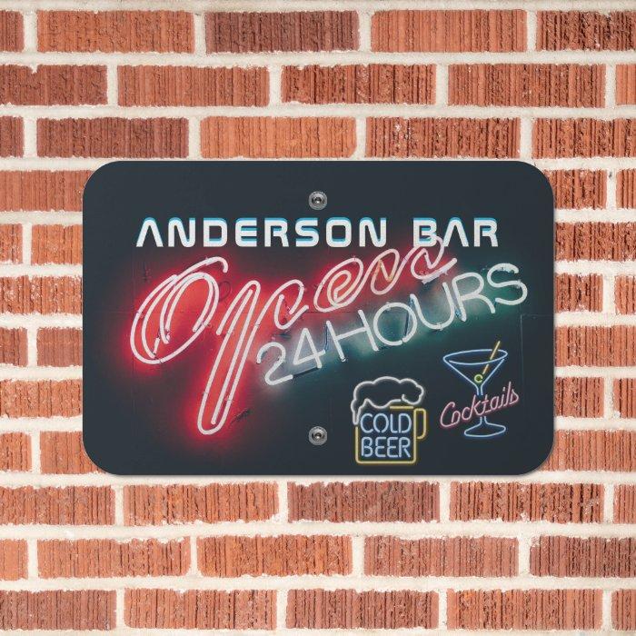 Custom HOME BAR Cocktails Beer Mancave Open Neon Metal Sign