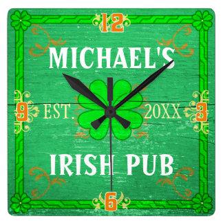 Custom Home Bar Irish Pub Green Wood with Name Square Wall Clock