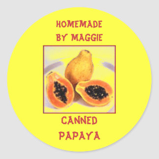 Custom Homegrown Tropical Papaya Label Sticker