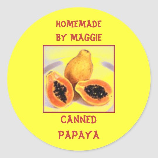 Custom Homegrown Tropical Papaya Label Sticker
