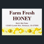 "Custom Honey Farm Advertising Yard Sign<br><div class=""desc"">A custom sign with large text on top and small custom text on the bottom and vintage art of honey bees on a honeycomb.  Customize it to change fonts,  background colors,  upload an image and more,  even save your design for later.</div>"