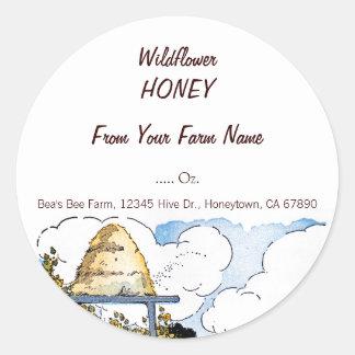Custom Honey Happy Beehive Vintage Art Sticker