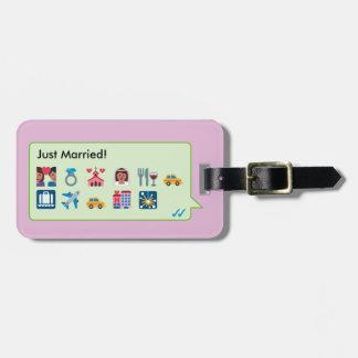 Custom honeymoon trip emoticons phone message… bag tag