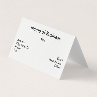 Custom Horizontal Tent Fold Folded Business Card