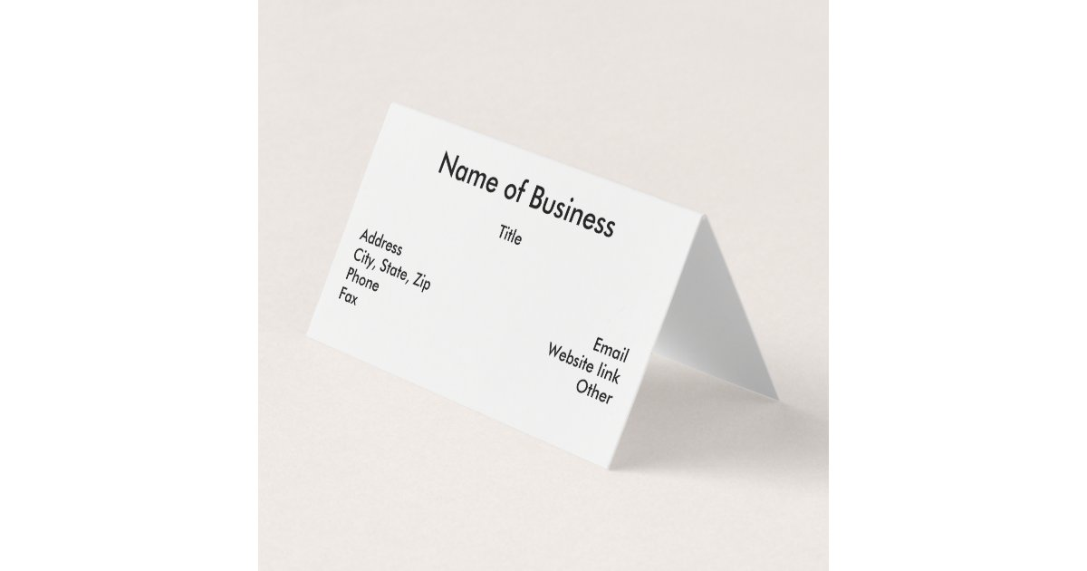 Custom Horizontal Tent Fold Folded Business Card | Zazzle.com