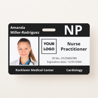 Custom Hospital Employee Logo Black Photo ID Badge