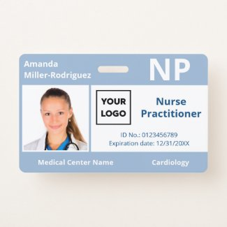 Custom Hospital Employee Logo Light Blue Photo ID Badge
