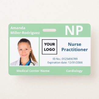 Custom Hospital Employee Logo Light Green Photo ID Badge