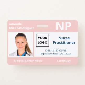 Custom Hospital Employee Logo Pink Photo ID Badge
