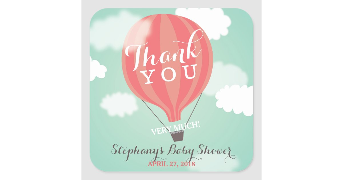 Custom Hot Air Balloon Thank You Stickers Zazzle Com