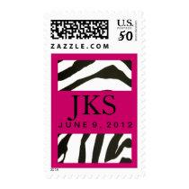 Custom Hot pink and zebra design Postage