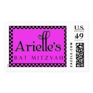 Custom hot pink Bat Mitzvah postage stamp
