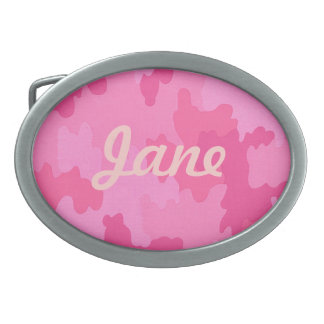Custom Hot Pink Camouflage Belt Buckle