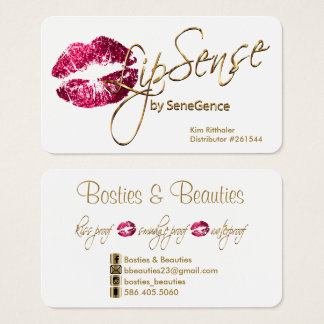 Custom - Hot Pink Glitter and Gold - White Business Card