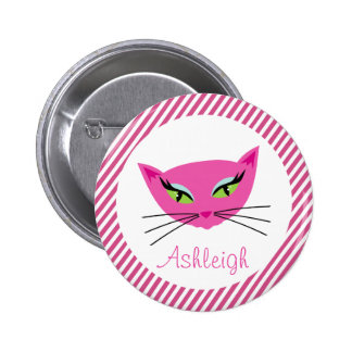 Custom Hot Pink Kitty with Stripes Pinback Button