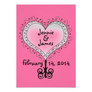 Custom Hot Pink Wedding Invitation Hearts Swirls