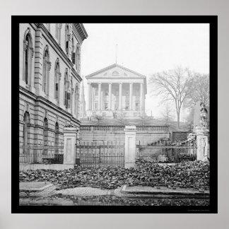Custom House & Capitol in Richmond, VA 1865 Poster