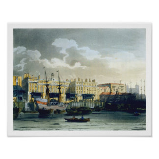 Custom House from the River Thames, from Ackermann Poster