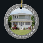 """Custom House Photo First Xmas New Home Family Name Ceramic Ornament<br><div class=""""desc"""">Custom House Photo Personalized Family Home First Christmas Round Ceramic Ornament - All text can be customized and picture can be changed to feature your custom photo. Elegant modern circle design with personalized message, name, and year in a circle makes a stylish keepsake addition to your new home&#39;s holiday decor....</div>"""