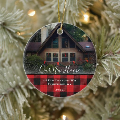 Custom House Photo First Xmas New Home Family Name Ceramic Ornament
