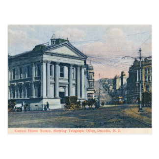 Custom House Square, New Zealand vintage postcard