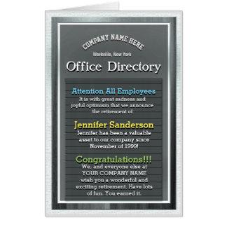 Custom Huge Retirement Card Office Directory