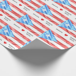 Custom I Heart Flag of Puerto Rico Wrapping Paper