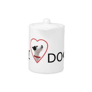 Custom I Love Heart Dog Teapot