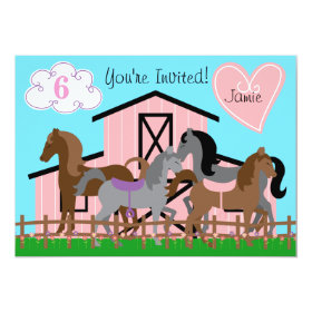 Custom I Love Horses Birthday 5x7 Invitation 5