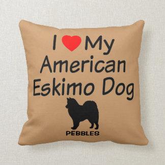 Custom I Love My American Eskimo Dog Throw Pillow