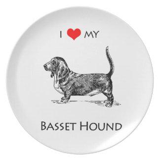 Custom I Love My Basset Hound Dog Melamine Plate