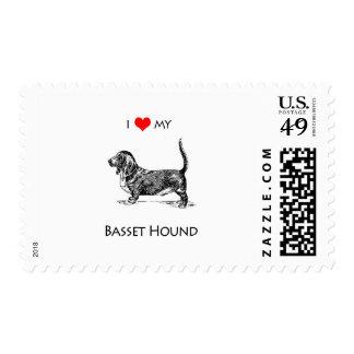 Custom I Love My Basset Hound Dog Postage Stamp