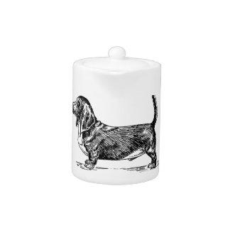 Custom I Love My Basset Hound Dog Teapot