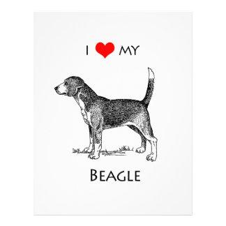 Custom I Love My Beagle Dog Letterhead