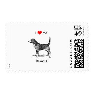 Custom I Love My Beagle Dog Postage Stamp