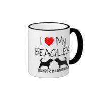 Custom I Love My Beagles Coffee Mug