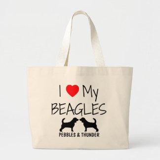 Custom I Love My Beagles Large Tote Bag